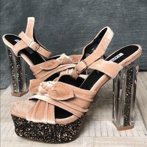 NEW Cape Robbin Glitter Platform Sandals sz 6.5